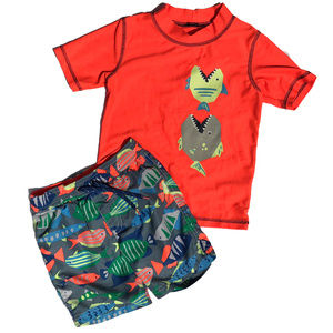 Carters 2-Piece Swimsuit Set Trunks & Top Fish 4T